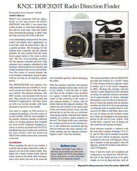 KN2C DDF2020T Radio Direction Finder - November 2016 QST - Page 1
