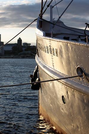 Dampfschiff Schaarhörn auf der Elbe in Hamburg bei Abendsonne