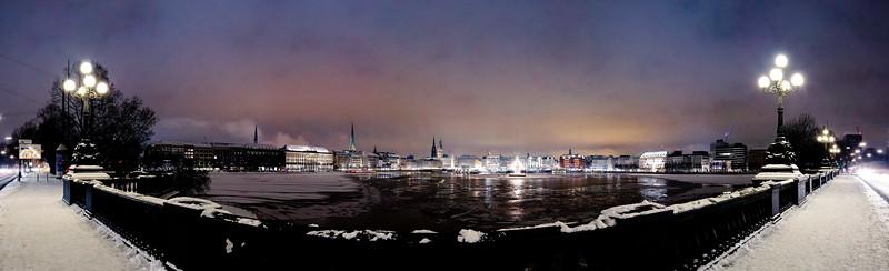 Panorama Binnenalster im Winter Hamburg von der Lombardsbrücke