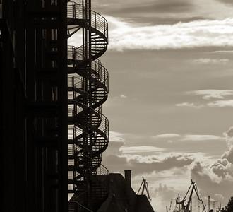 Speicherstadt in schwarz-weiß