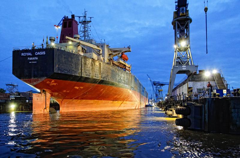 Massengutfrachter beim Ausdocken Elbe 17 Blohm und Voss