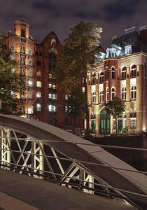 Fleetschlösschen in der Speicherstadt bei Nacht Hamburg