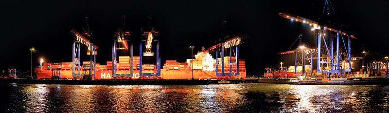 Athabaskakai Aus sicht Parkhafen bei Nacht mit Containerschiffen Hamburg Waltershofer Hafen
