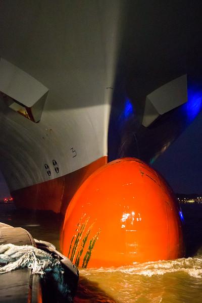 Bug Containerschiff mit Schlepper in der Nacht auf der Elbe in Hamburg