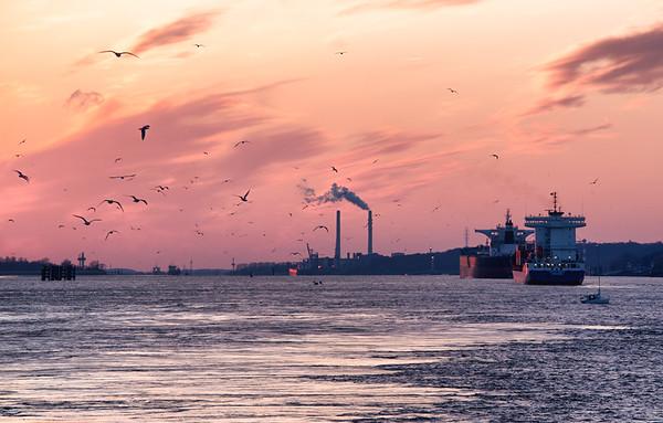 Containerschiff und Massengut Frachter auf der Elbe bei Abendroth