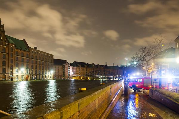 Sturmflut Hamburg 2013 in der Speicherstadt