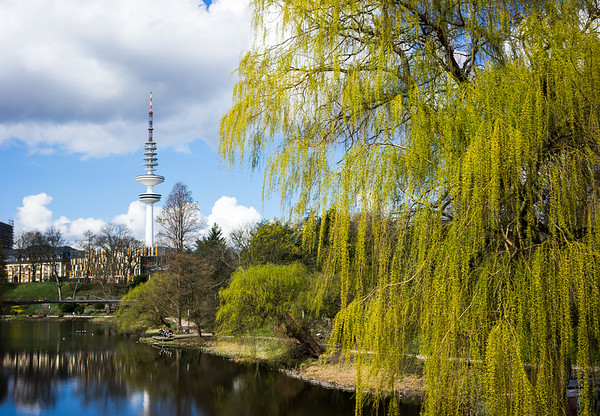 Planten Un blomen mit Fernsehturm Hamburg See