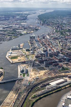 Luftbild HafenCity Speicherstadt Hafen Elbe Hamburg