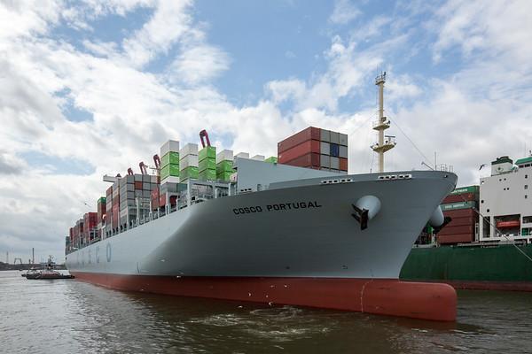 Containerschiff geht rückwärts in den vor Hafen zum Containerterminal Tollerort