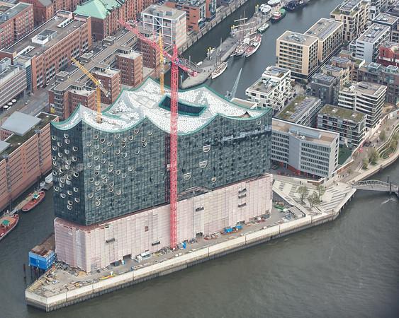 Elbephilharmonie Baustelle Hamburg aus der Luft