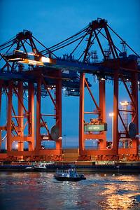Containerkräne im Waltershofer Hafen Hamburg