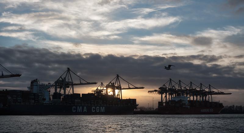 Athabaskakai mit 2 Containerschiffen in Hamburg an der Elbe am Abend