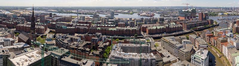 2015-06-04 12:15 | Panorama Speicherstadt Hamburg von oben am Tage mit Elbphilharmonie und Deichstraße und Baakenhafen | Panorama, Speicherstadt | Bild Nr.: 20150604-DSC01009-m-p-Andreas-Vallbracht