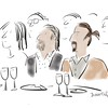 New Yorker Comic Drawing of<br /> Luis A. Miranda Jr. and Lin-Manuel Miranda<br /> by Liza Donnelly