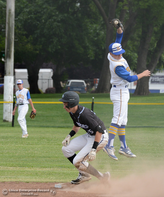 . University Prep\'s Kyle Schroedle beats Hamilton High\'s Cort Johnson to the bag at second during the Northern Section Division IV semifinal baseball game Monday May 15, 2017 at Hamilton High School in Hamilton City, California. (Emily Bertolino -- Enterprise-Record)