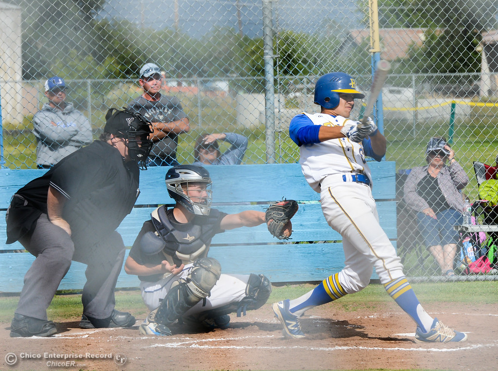 . Hamilton High\'s Ariel Leal knocks it out down right field as the Braves host University Prep in a Northern Section Division IV semifinal baseball game Monday May 15, 2017 at Hamilton High School in Hamilton City, California. (Emily Bertolino -- Enterprise-Record)