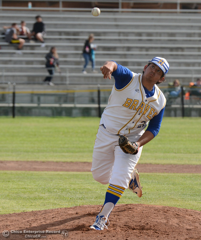 . Hamilton High\'s Chris Llamas pitches against University Prep in the Northern Section Division IV semifinal baseball game Monday May 15, 2017 at Hamilton High School in Hamilton City, California. (Emily Bertolino -- Enterprise-Record)