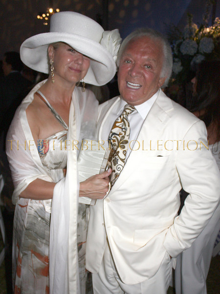 "Marcy Warren ""Fashion Committee"" wearing Carlos Miele with Producer Marty Richards"