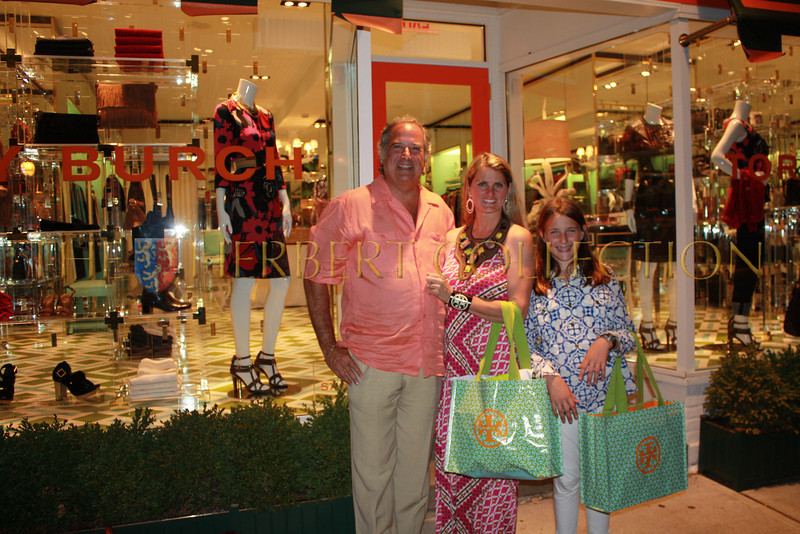 Stewart, Bonnie and Leah Lane outside Tory Burch's East Hampton store