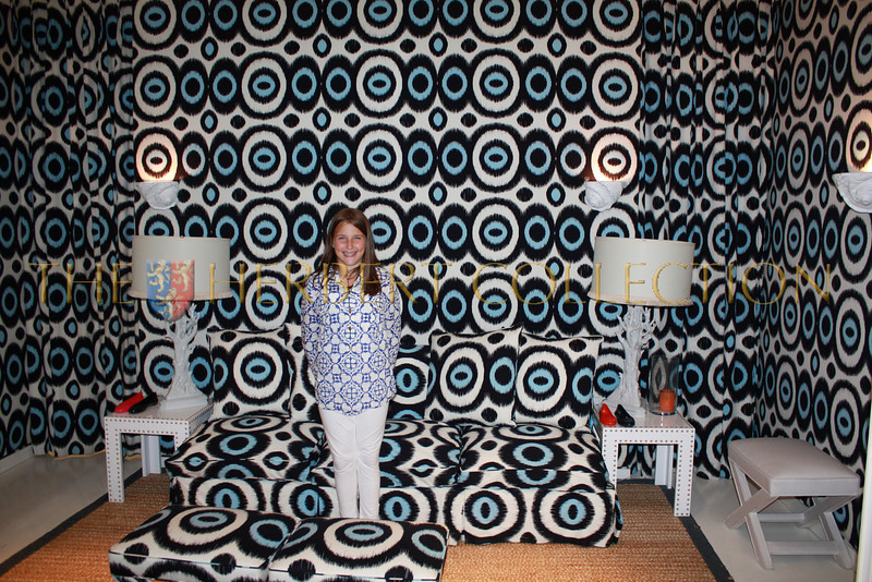 Leah Lane, Bonnie and Stewart Lane's daughter in psychadelic room at Tory Burch's East Hampton Store