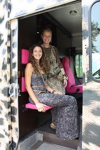Joey Wolffer and Trish Carroll in La SMOOCH boutique leopard van