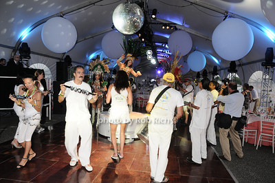 "Brasilian Dancers at the Baystreet Theatre ""Rock the Dock"" Summer Gala Benefit on Long Wharf in Sag Harbor on July 17, 2010.photo by Rob Rich/SocietyAllure.com"