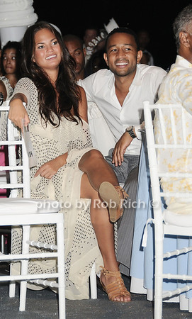 Giirlfriend Chrissy Teigen and  Singer John Legend attend the Art for Life 2010 gala at the estate of Russell Simmons in East Hampton on July 24, 2010. photo by Rob Rich/SocietyAllure.com