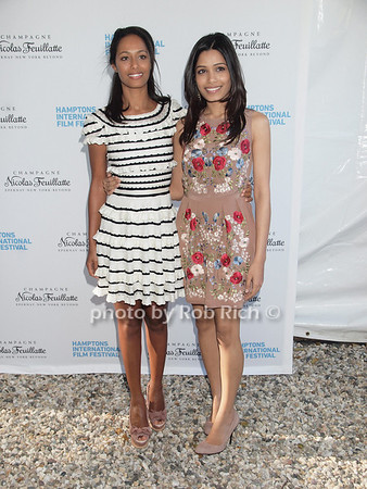 """Rula Jebreal, Frieda Pinto attend  the """"Chairman's Reception"""" at the private residence of Stuart Match Suna in Easthampton during the Hamptons International Film Festival on September 9, 2010.photo by Rob Rich/SocietyAllure.com"""