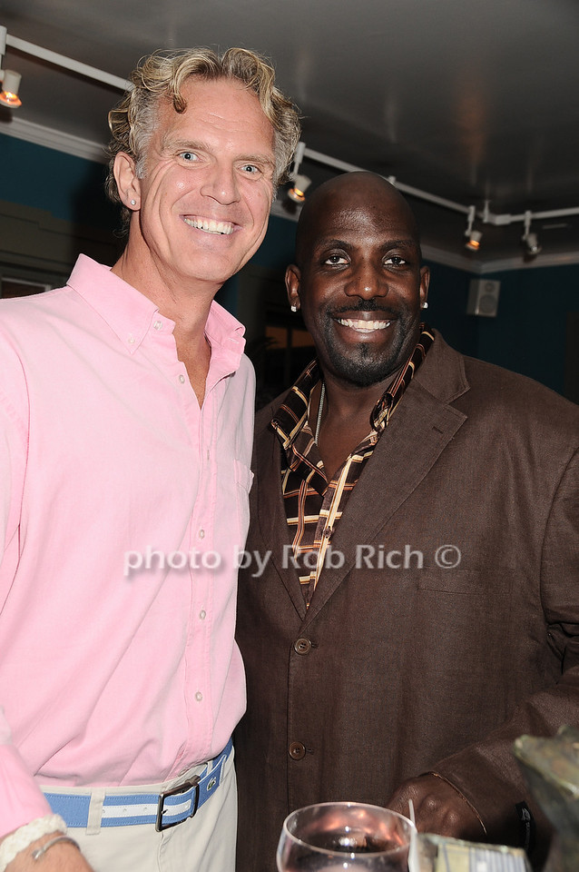"""Marcus Hill,  Kevin Brown (Dot Com) at  the after party for """"EQUUS"""" @ the Maidstone in East Hampton on June11, 2010."""