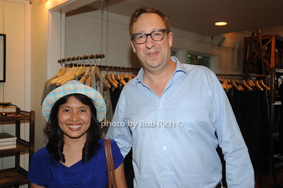 Hnin Lekhaing and Tom Bergreen attend David Heath Adventure Photographer Raises Funds to Give  Back  to Myanmar during book signing at Urban Zen boutique in Sag Harbor. July 23, 2016.
