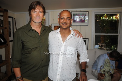 Phootgrapher/Artis Davide Heath and Nilay Oza  during David Heath Adventure Photographer Raises Funds to Give  Back  to Myanmar during book signing at Urban Zen boutique in Sag Harbor. July 23, 2016.