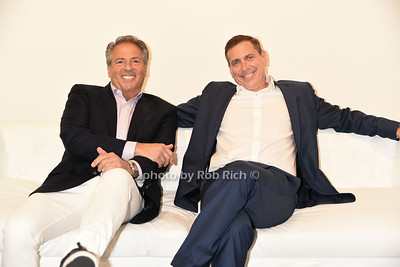 """Glenn Myles and Ken Fishel taking a break at  the Samuel Waman Cancer Research Foundation 12th.Annual """"A Hamptons Happening"""" at the private residence of Ken and Maria Fishel in Bridgehamton on July 9, 2016."""