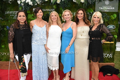 """Nurit Kahane Haas, Sheila Rosenblum, Ramona Singer Pamela Morgan, Carole Christ, and Andrea Warshaw attend the Samuel Waman Cancer Research Foundation 12th.Annual """"A Hamptons Happening"""" at the private residence of Ken and Maria Fishel in Bridgehamton on July 9, 2016."""