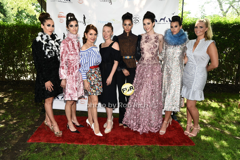 Nicole Teitler, Kimberly, Maloomian, Jean Shafiroff, Anna Tagliacue, Kassandra Cruz, Lauren O'Brien, and Brenna Sherlock attend the Catwalk for Canines ethical & eco fashion show to benefit the Southampton Animal foundation at the Southampton Social Club in Southampton on Saturday, June 10, 2017.