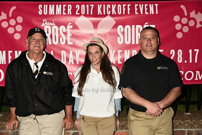 Dave Loehle, Marie Gouldsbury and  Michel Gouldsbury attend Dan's Rose' Soiree at the Southampton Arts Center in Southampon on May 28, 2017.