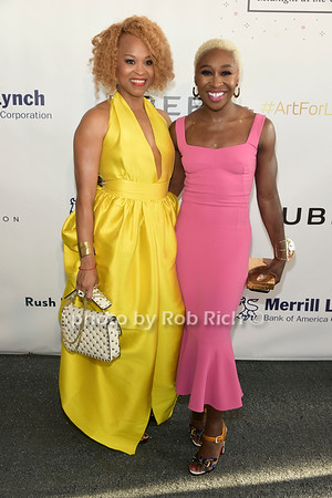 Esi Eggleston Bracey and Cynthiua Ervio attend Russell Simmons Rush Philanthropic Arts Foundation Annual Art for Life Benefit  at Fairview Farms in Watermill on Saturday, July 15, 2017. photo by Rob Rich/SocietyAllure.com ©2017 robrich101@gmail.com 516-676-3939