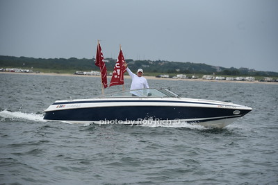 """""""Boaters for Trump""""  Flotilla at Navy Beach in Montauk   on August 7, 2020."""
