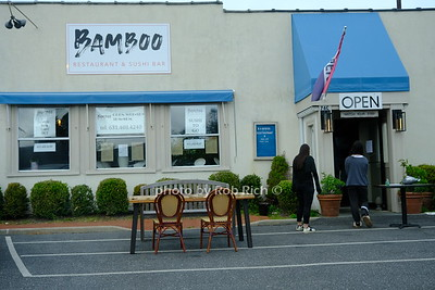 Restaurants set up tables outside to safely serve patrons for takeout dining at Bamboo restaurant on Jobs lane in Southampton. May 22, 2020: Hamptons photo by Rob Rich/SocietyAllure.com ©2020 robrich101@gmail.com 516-676-3939