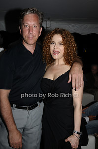 August 15- Bridgehampton:(l-r)  Rich Lindy and Bernadette Peters  attend  the  Ellen's Run  benefit  at the home of Steven Klein  in  Bridgehampton on August 1,2009.  photo by Rob Rich /SocietyAllure.com