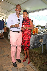 Dan Gasby and B.Smith attend the Hampton Classic Horseshow Grand Prix. (September 4, 2011)