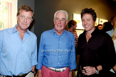 Southampton- September 5,2009:(l-r) Jamie Grant, artist James Grant, and actor Hugh Grant  attend the    art open ing of James Grant watercolors at tbe Keszler Gallery in Southampton  on September 5,2009. photo by Rob Rich/SocietyAlllure.com