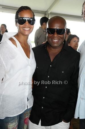 Bridgehampton- August 30:(l-r) Erica Reid and LA Reid attend the Hampton  Classic Horseshow in Bridgehampton on August 30, 2009. photo by Rob Rich/SocietyAllure.com