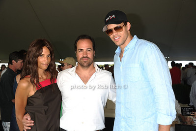 Model Veronica Webb, Chris Del Gatto, and Kris Humphries attend the Bridgehampton Polo Challenge at Two Trees Farm (July 30, 2011)