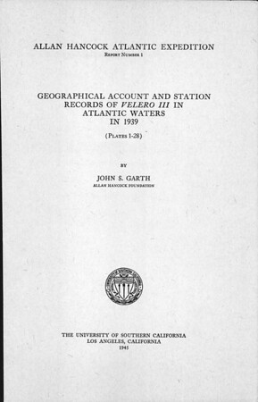 Geographical account and station records of Velero III in Atlantic waters in 1939