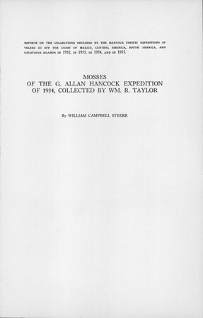 Mosses of the G. Allan Hancock Expedition of 1934, collected by Wm. R. Taylor