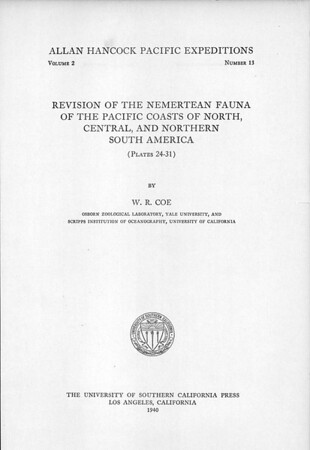 Revision of the nemertean fauna of the Pacific coasts of North, Central, and northern South America