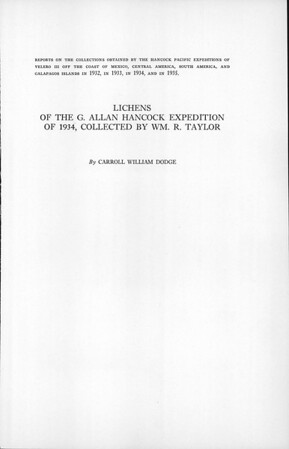 Lichens of the G. Allan Hancock Expedition of 1934 : collected by Wm. R. Taylor