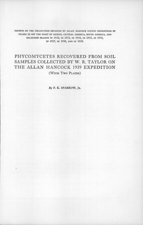 Phycomycetes recovered from soil samples collected by W.R. Taylor on the Allan Hancock 1939 Expedition