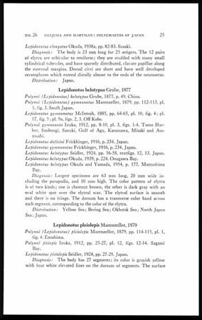 The polychaetous annelids of Japan, part I