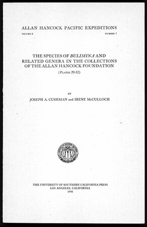 The species of Bulimina and related genera in the collections of the Allan Hancock Foundation
